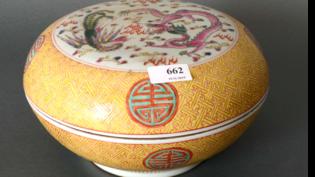 Porselein Kom met Deksel, d. 25.5cm