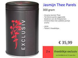 Jasmijn Thee Parels, najaar 2019, 2 x theeblikje Exclusiv 150 gr