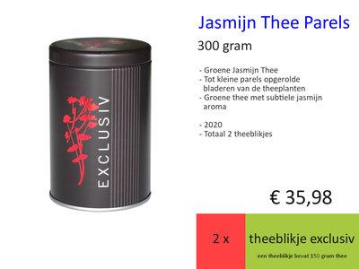 Jasmijnthee Parels, najaar 2020, 2 x theeblikje Exclusiv 150 gr