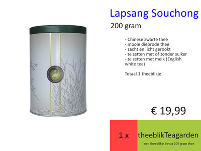 Lapsang Souchong in Luxe Theeblik Teagarden, 200 gram
